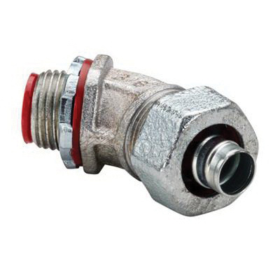 Topaz Electric 232S Zinc Plated Malleable Iron Insulated 45 Degree  Liquidtight Connector 3/4 Inch