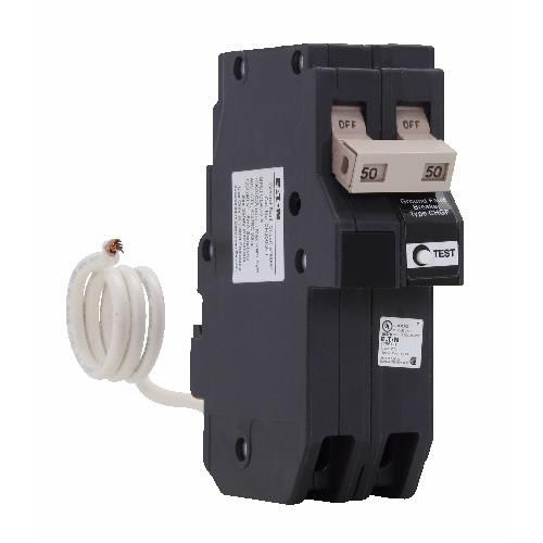 Eaton CH250GFT Plug-In Mount Type CH Ground Fault Circuit Breaker 2-Pole  50-Amp 120/240-Volt AC