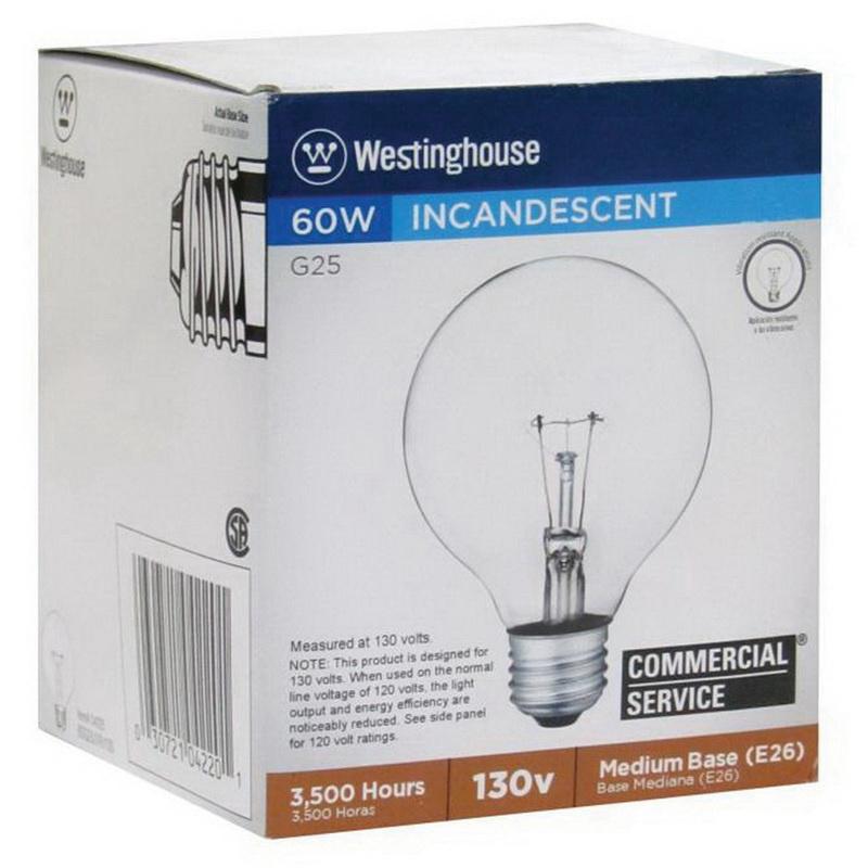 6  PK Westinghouse 60G25//W Vanity Light Bulbs NEW 60 WATT WHITE 130V STD BASE