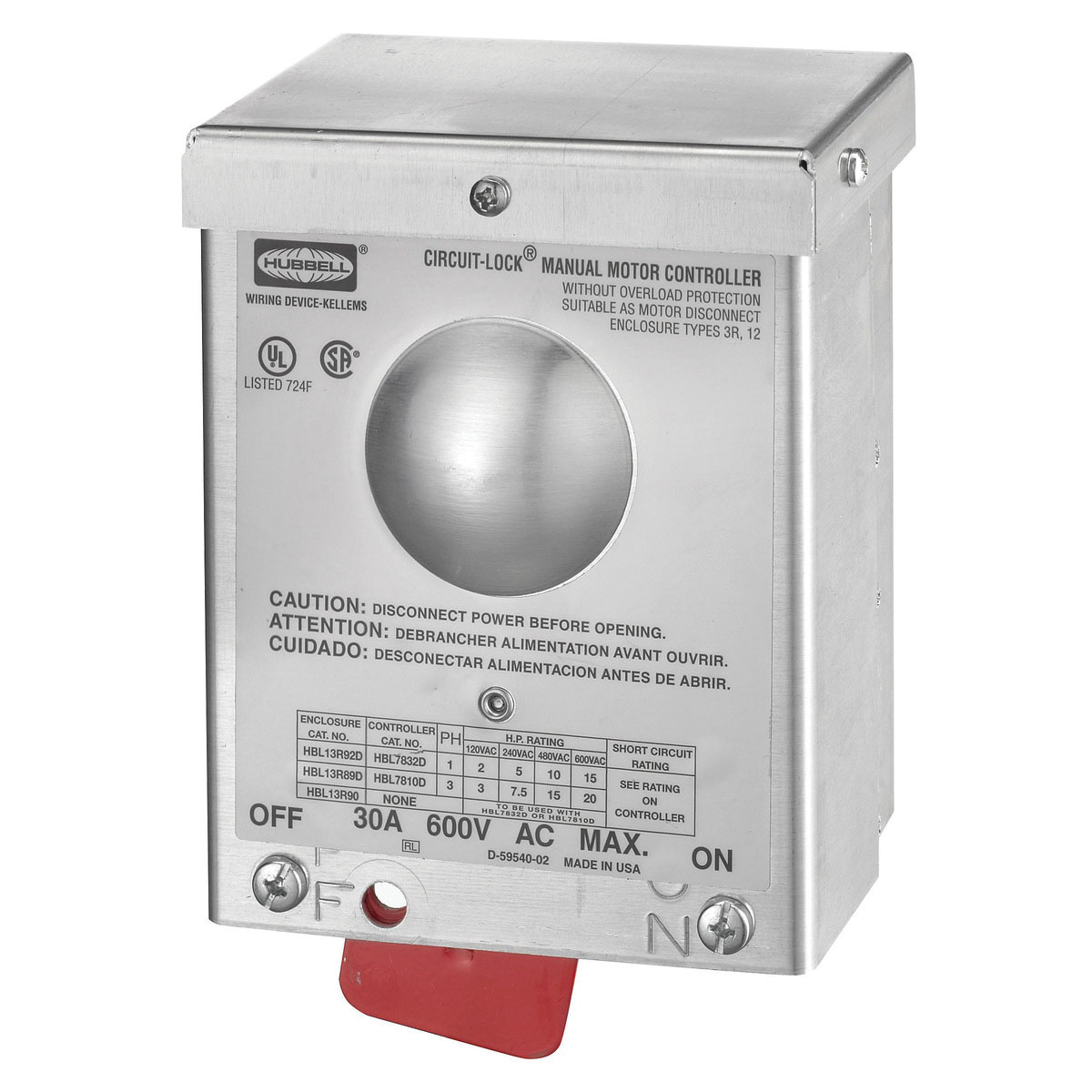 Hubbell Wiring Hbl13r89d 3 Pole 3 Phase Standard Duty