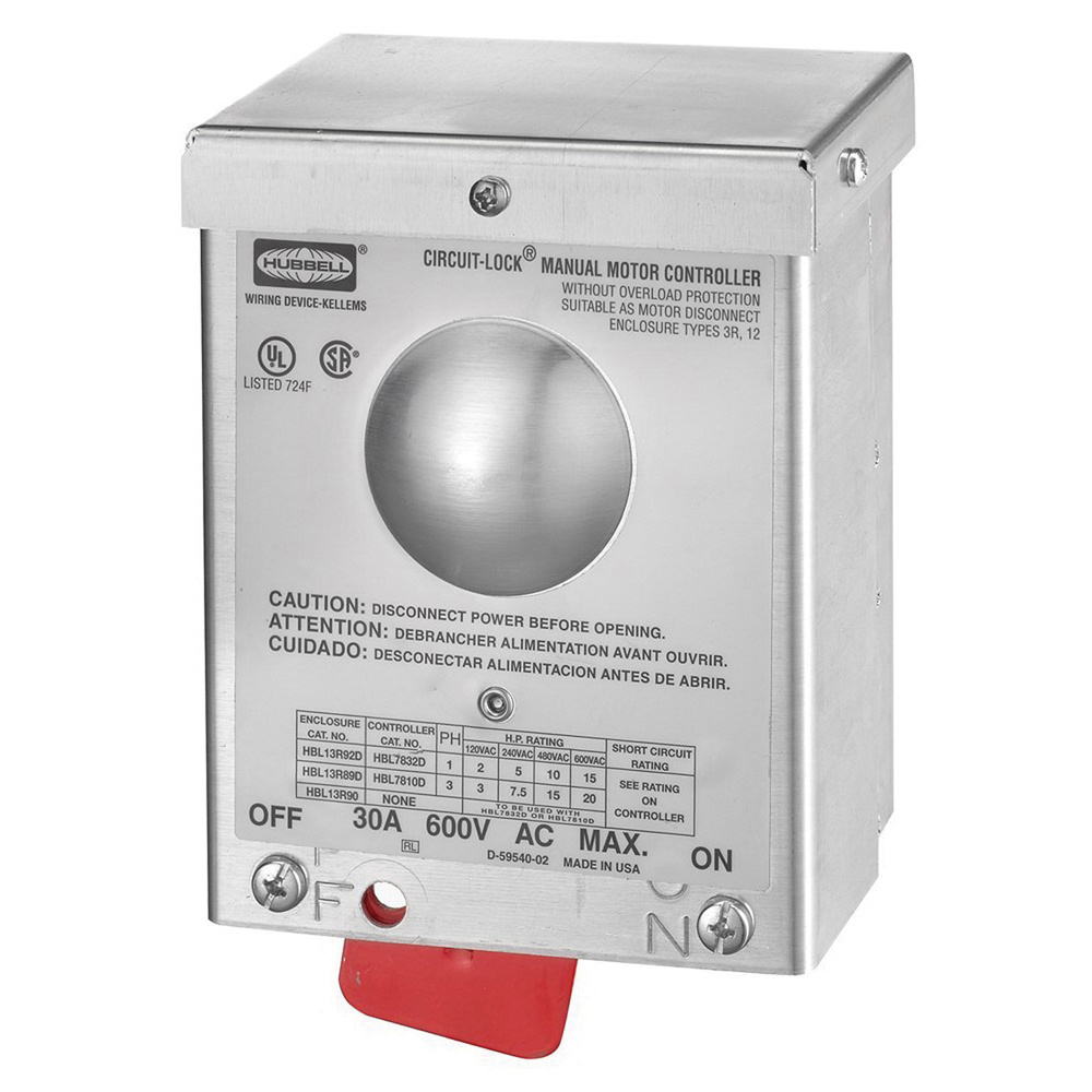 Hubbell-Wiring HBL13R90 Aluminum Non-Fused Industrial Grade 3-Pole on