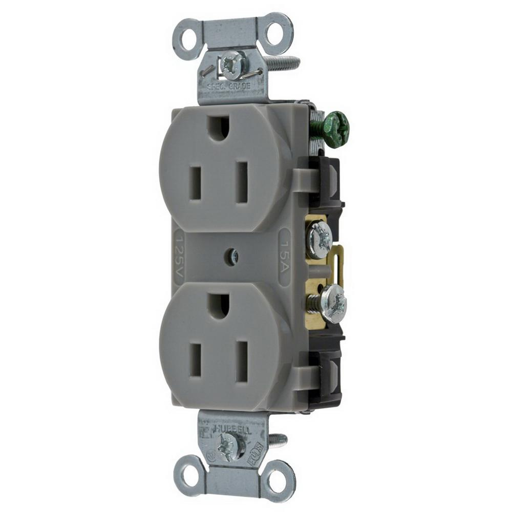 Hubbell-Wiring CR15GRY Commercial Specification Grade Straight Blade ...