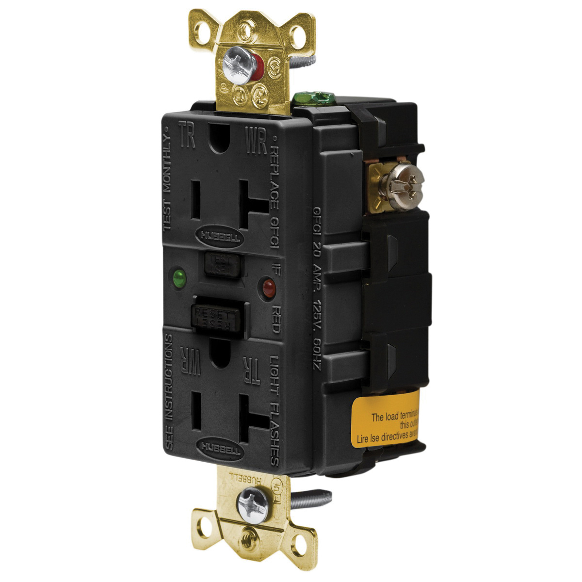 Hubbell Wiring Gfr5362sgbk Hospital Industrial Grade Extra Heavy Gfci Receptacle Duty Tamper And Weather