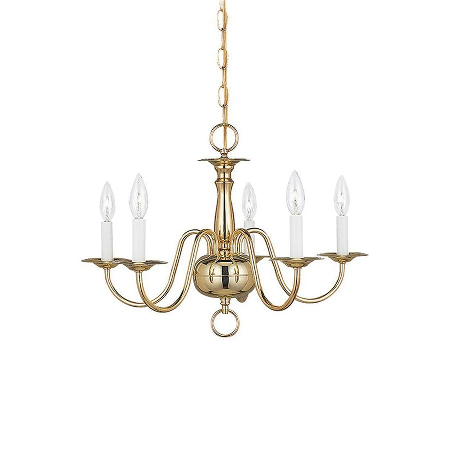 Sea gull lighting 3313 02 5 light 1 tier chandelier 60 watt 120 volt polished brass traditional chandeliers indoor fixtures lighting lighting yale