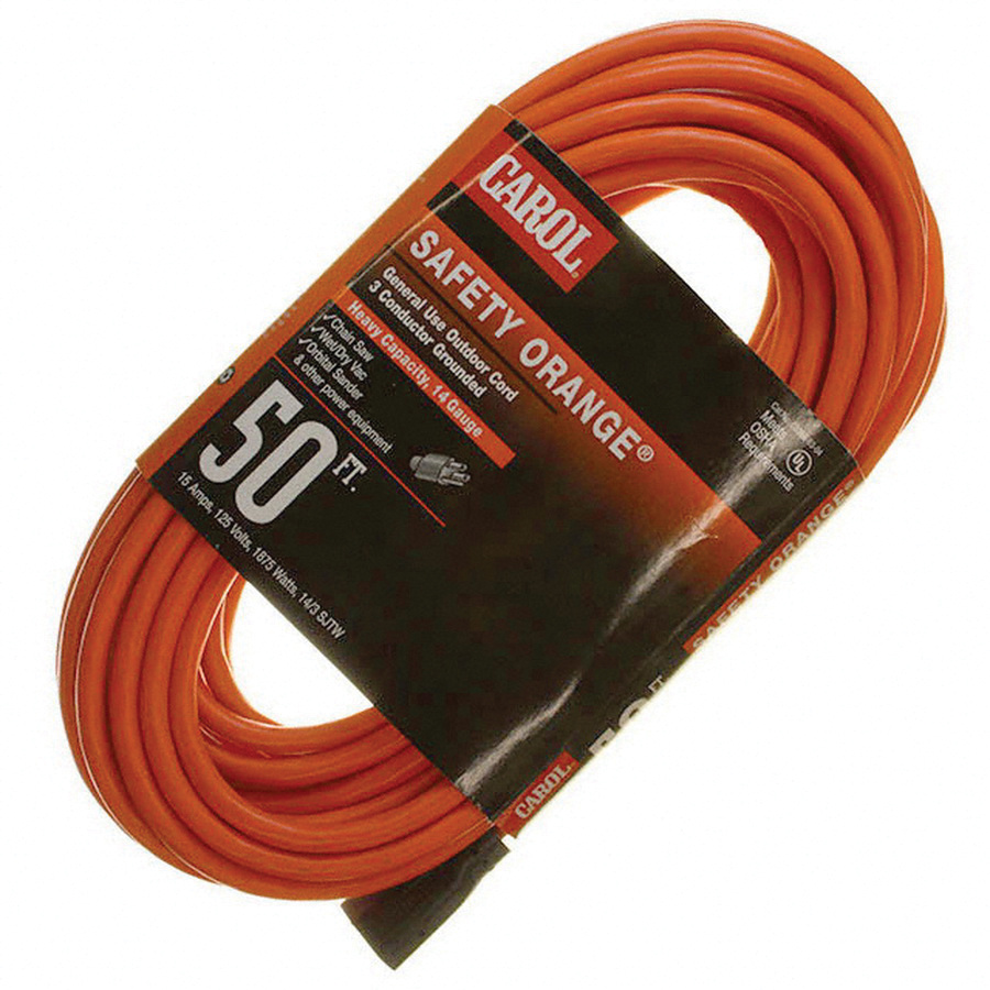 Carol 03392.63.05 Bare Copper SJTW Lighted Extension Cord 14/3 ...