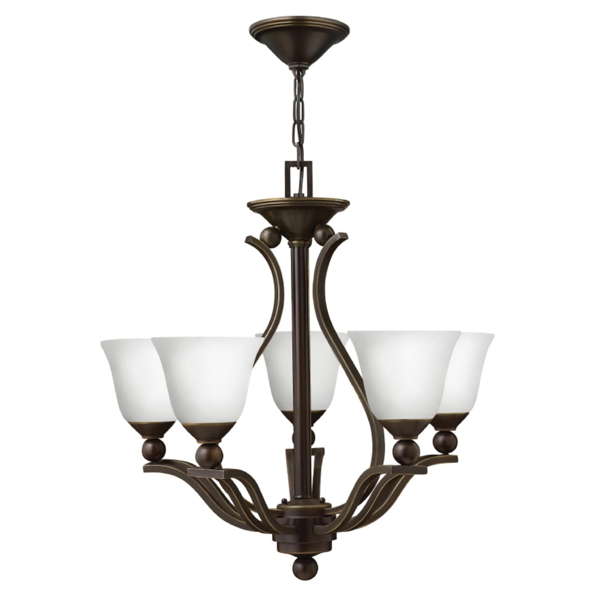 Hinkley Lighting 4655ob Opal 5 Light Up Chandelier 100 Watt 120 Volt Olde Bronze Bolla