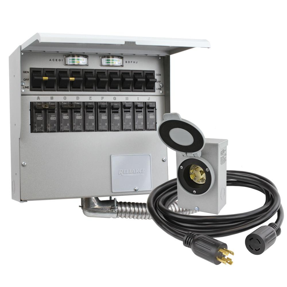 Reliance Controls 310CRK Indoor 10-Circuit Transfer Switch Kit 30 ...