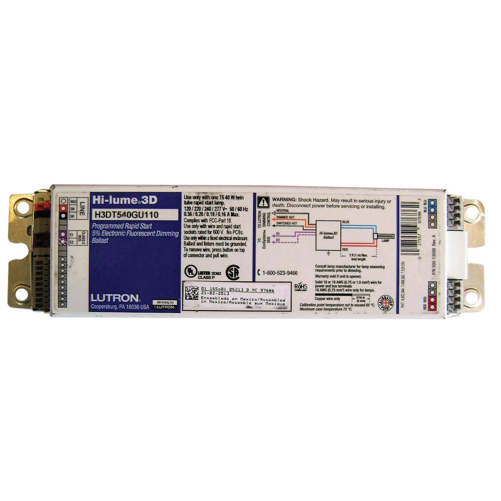 Wiring 277 Volt Fluorescent T5 Electrical Diagram Schematics Ballast On Light Fixtures Lutron H3d T540 G U 1 10 Dimmable 40 Watt 3100 Lumens Twin