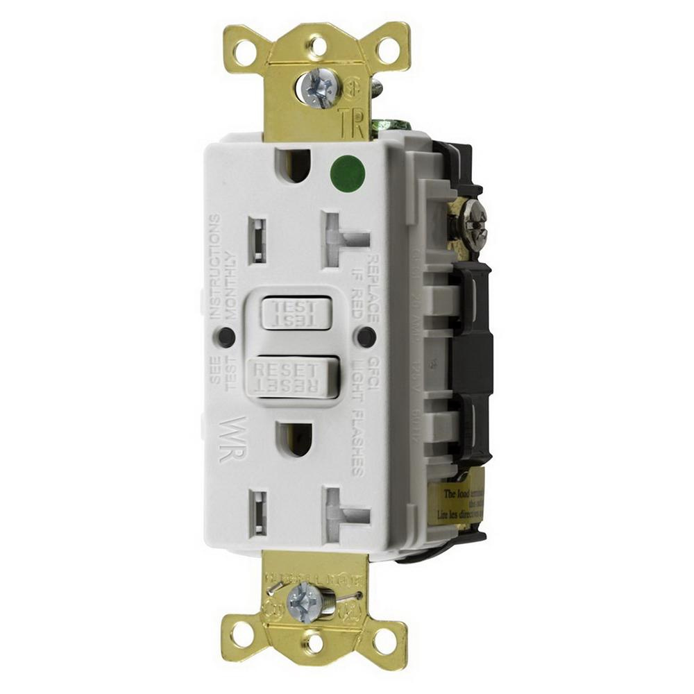 Hubbell-Wiring GFTWRST83W Hospital Grade Standard Weather-Resistant GFCI  Receptacle 20 Amp 125 Volt