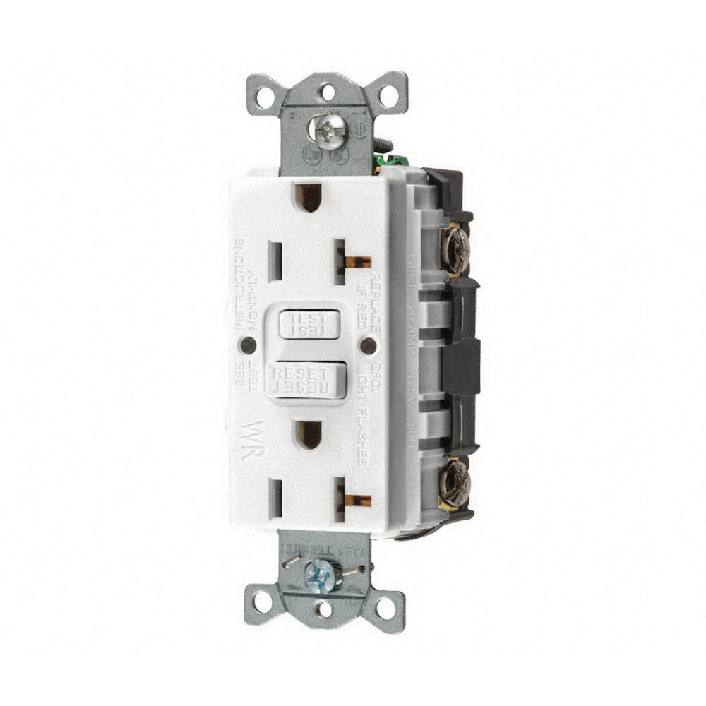 Hubbell Wiring Gfwrst20w Heavy Duty Weather Resistant Self Test Gfci Receptacle Duplex