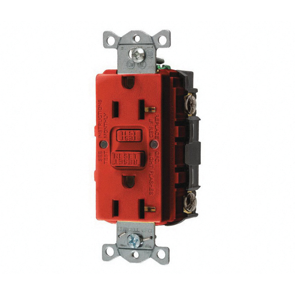 Hubbell Wiring Gfrst20r Heavy Duty Self Test Duplex Gfci Receptacle 125 Volt 20