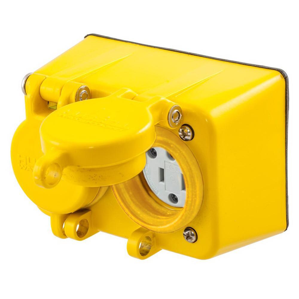 Hubbell Wiring Hbl60w33d Watertight Straight Blade Duplex Receptacle 20 Amp 125 Volt Nema 5