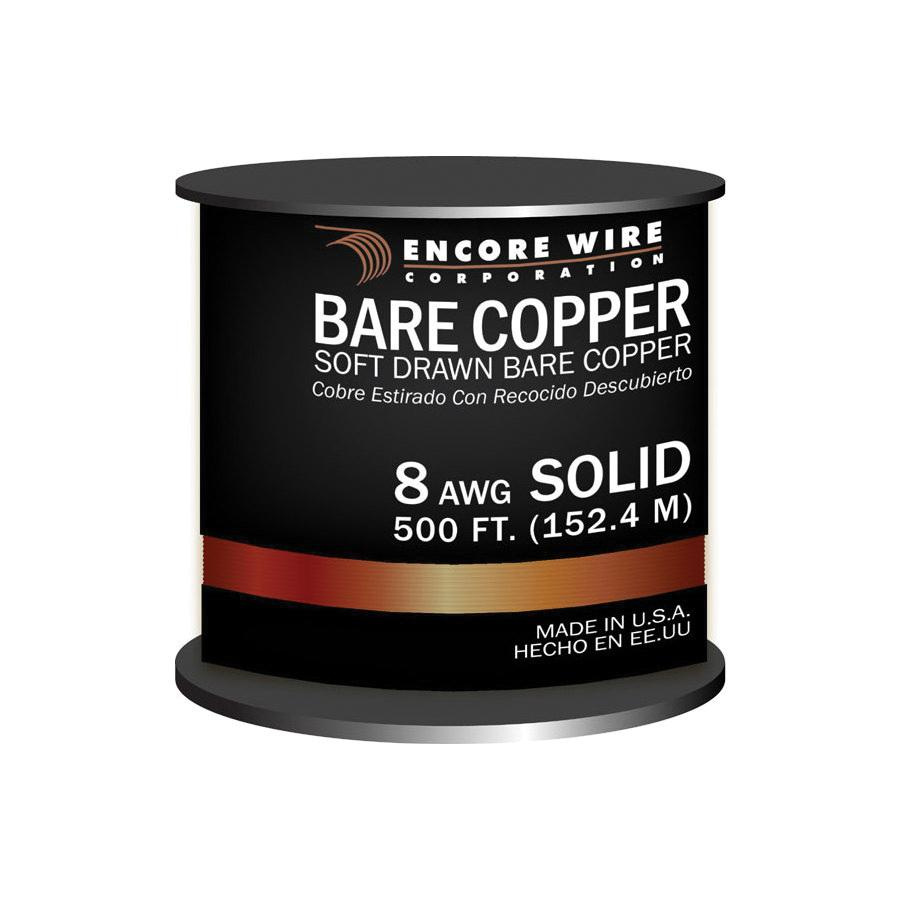 Encore Wire 170101000040 Solid Soft Drawn Copper Bare Wire 8 AWG 500 ...