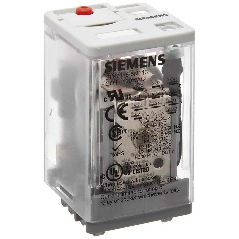 Siemens 3tx7115 5nf13 3 Pole Square Base Plug In Premium Relay 120 Electromagnetic Computer Volt Ac