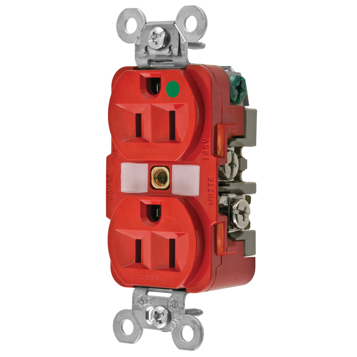 hubbell wiring hbl8200red extra heavy duty traditional straight blade duplex receptacle 2 pole 3 wire 125 volt 15 amp nema 5 15r red hbl®  star wiring receptacles #6