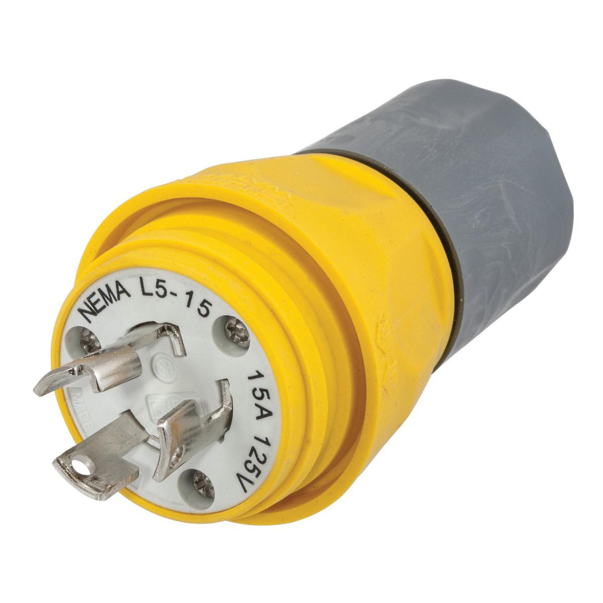 Hubbell HBL24W47A Watertight Plug Nema L5-15 15-amp 125-volt 2-pole 3-wire