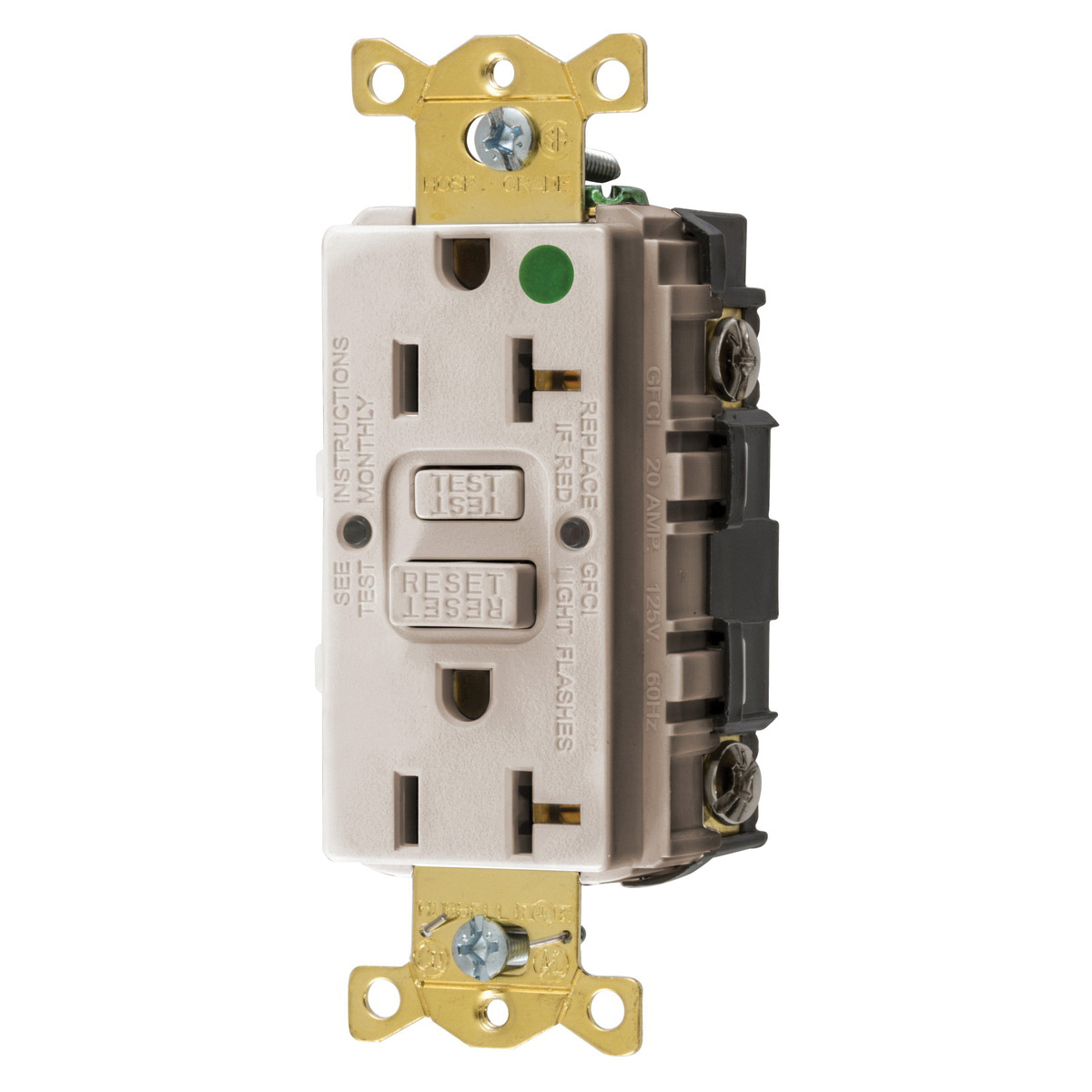 Hubbell-Wiring GFRST83LA Flush Face Straight Blade Self-Test GFCI  on receptacles wiring, electrical conduit, electrical wiring, power cord, conduit wiring, plumbing wiring, junction box, earthing system, 3 phase breaker panel wiring, circuit wiring, circuit breaker, afci wiring, electric motor, duplex wiring, electric power distribution, amp wiring, distribution board, knob-and-tube wiring, dimmer wiring, daisy chain wiring, alternating current, electricity wiring, 220 volt to 110 volt wiring, national electrical code, three-phase electric power, electrical engineering, diy wiring, timer wiring, wiring diagram, power cable, led wiring, ground and neutral, ground wiring, lutron wiring, hot tub wiring, low voltage wiring, extension cord,