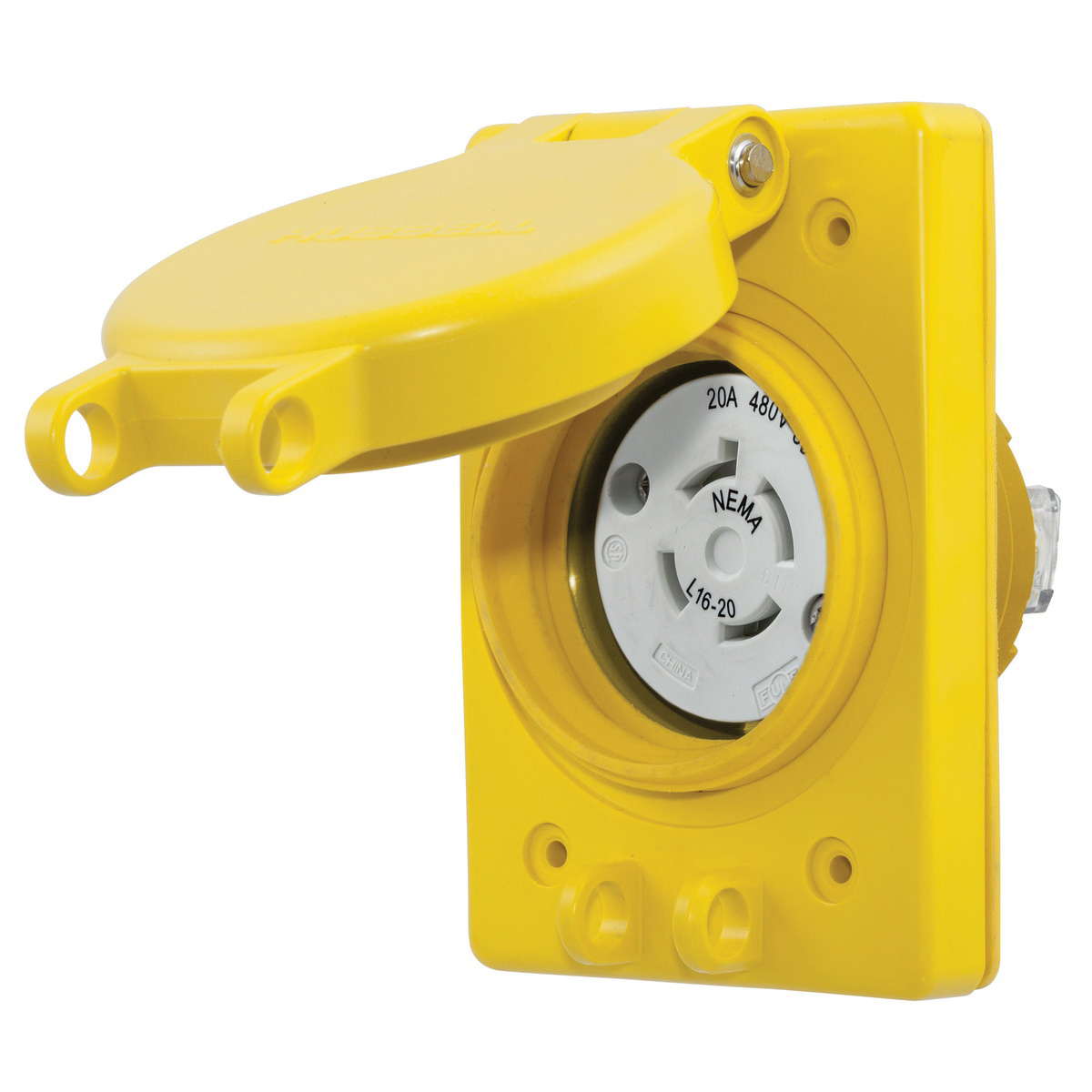 Hubbell Wiring Hbl67w76 Industrial Grade Watertight Corrosion Ac Receptacle Resistant Non Shrouded Locking 20