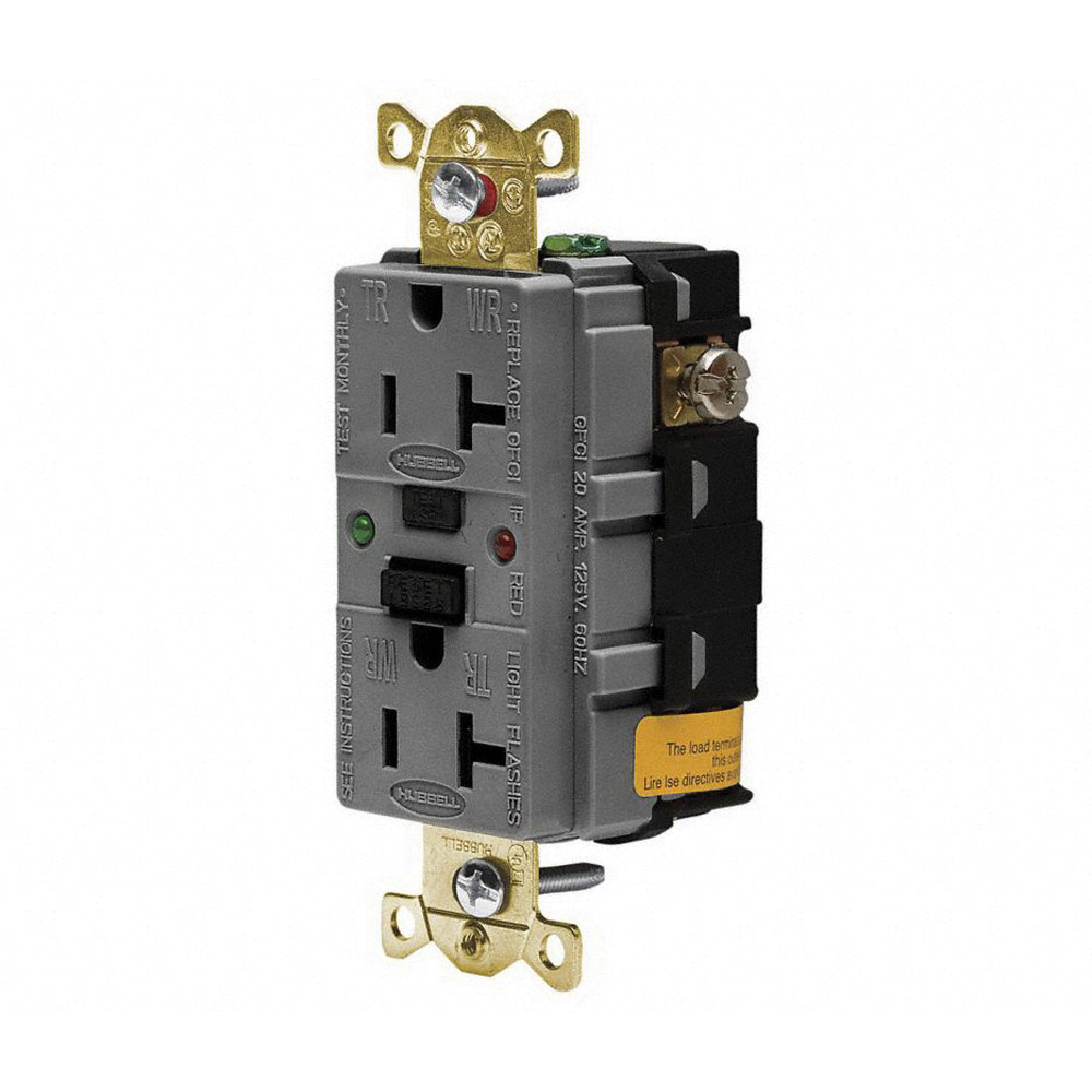 Hubbell Wiring Gfr5362sggy Extra Heavy Duty Tamper And Weather Gfci Receptacles Resistant Self Test