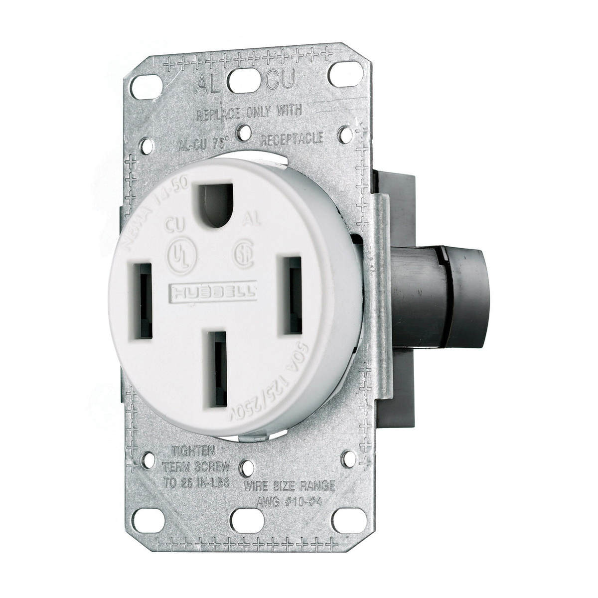 Nema 14 50r >> Hubbell Wiring Rr450fw Smooth Face Straight Blade Single Receptacle 3 Pole 4 Wire 125 250 Volt 50 Amp Nema 14 50r Black Tradeselect