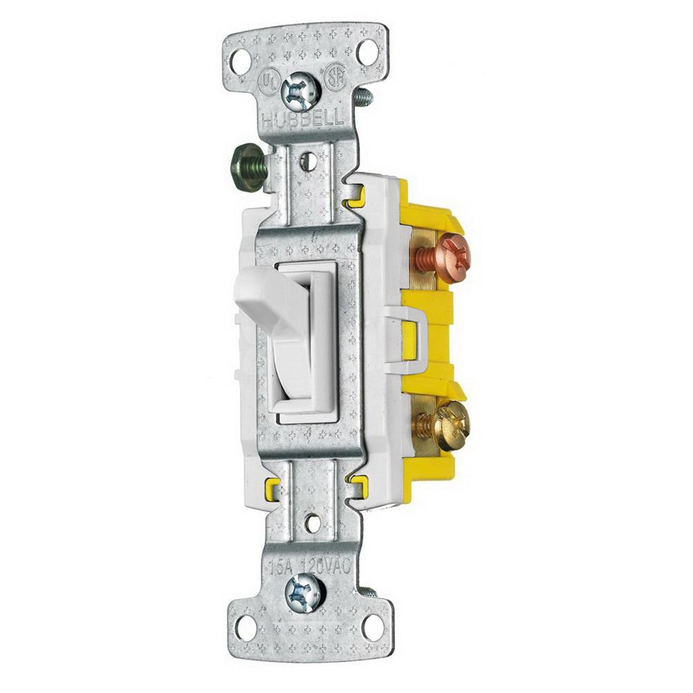 Hubbell-Wiring RS315W 120-Volt AC 15-Amp 3-Way Toggle Quiet Switch on