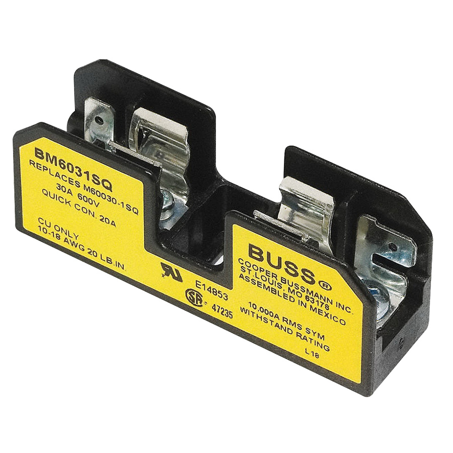 Bussmann Bm6031sq Supplementary Fuse Block 1 Pole 600 Volt Ac Dc Box 10