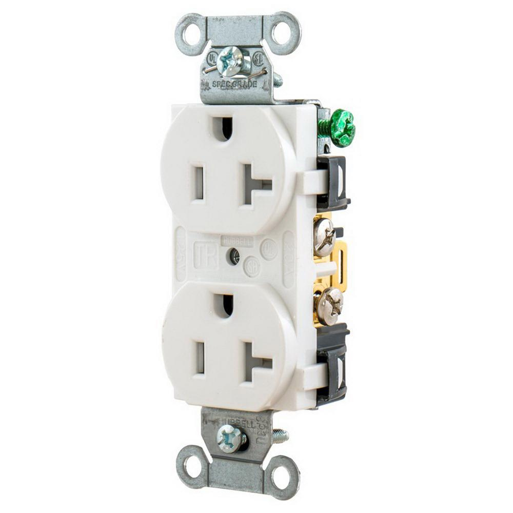 Hubbell Wiring Br20whitr Commercial Specification Grade Tamper Duplex Receptacle Resistant Straight Blade 20 Amp