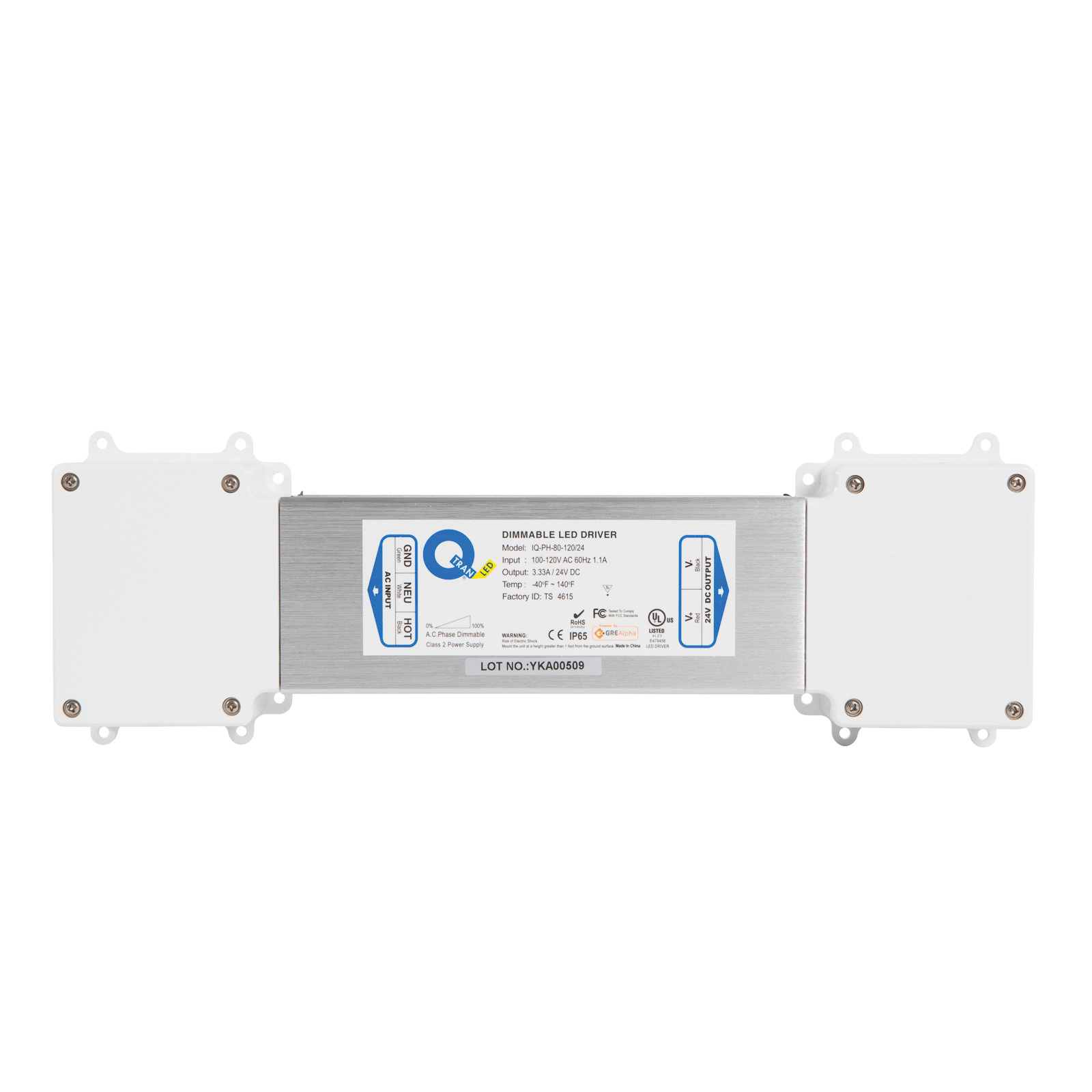 Q-Tran IQ-PH-80-120/24 Constant Voltage Dimmable Electronic Power Supply  120-Volt AC Input 24-Volt DC Output 79 2-Watt/Channel 80-Watt Rated Output