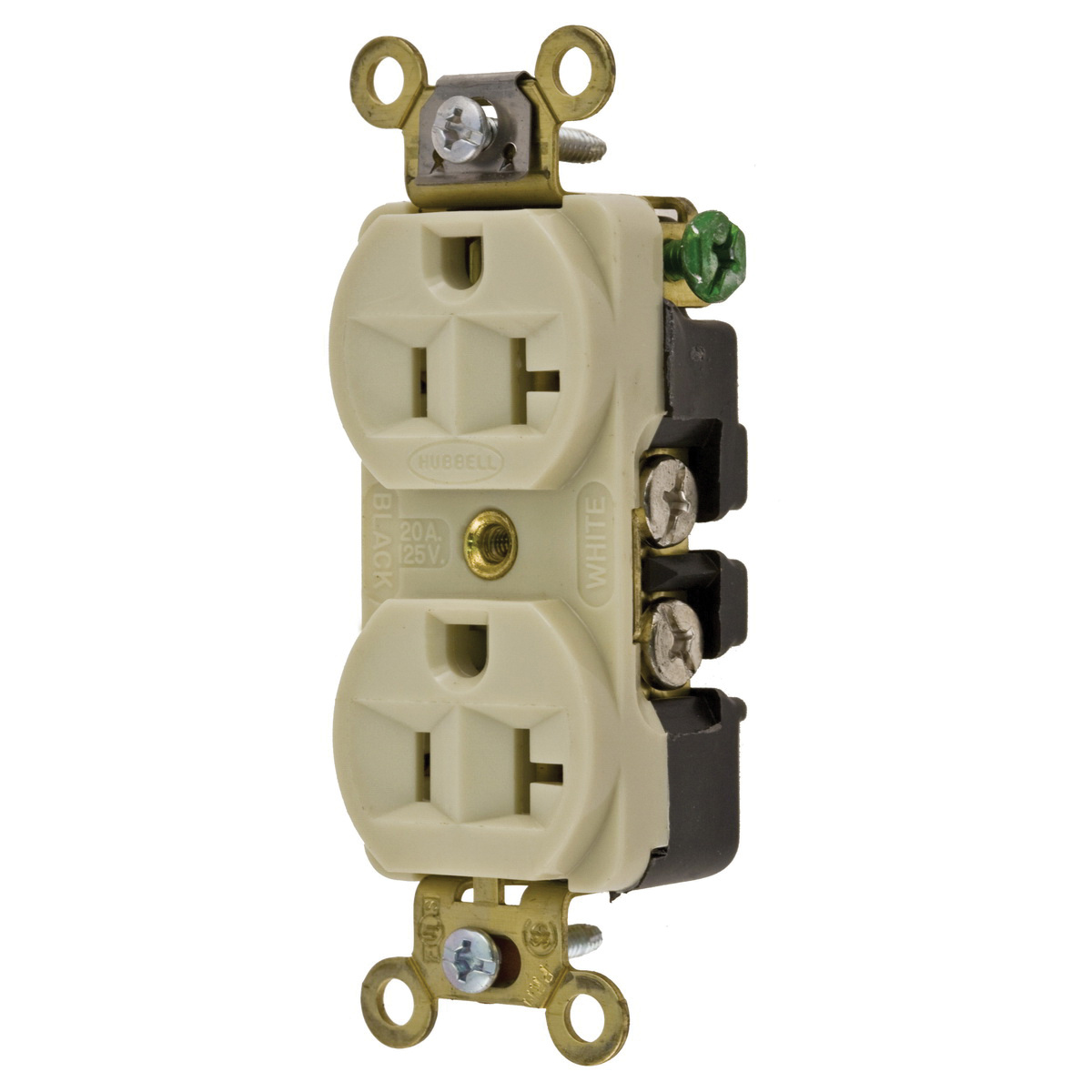 Hubbell Wiring Hbl5352i Industrial Grade Extra Heavy Duty Compact Ac Receptacle Straight Blade Duplex 20