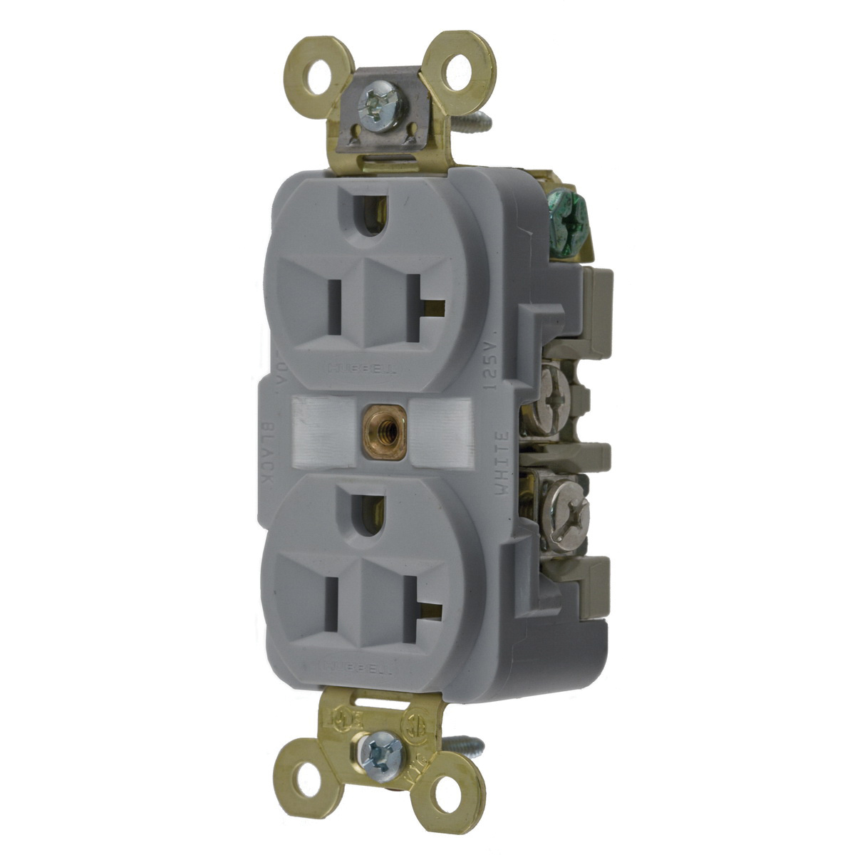 Hubbell Wiring Hbl5362gy Industrial Grade Extra Heavy Duty Finder Duplex Receptacle Groove Face Straight Blade
