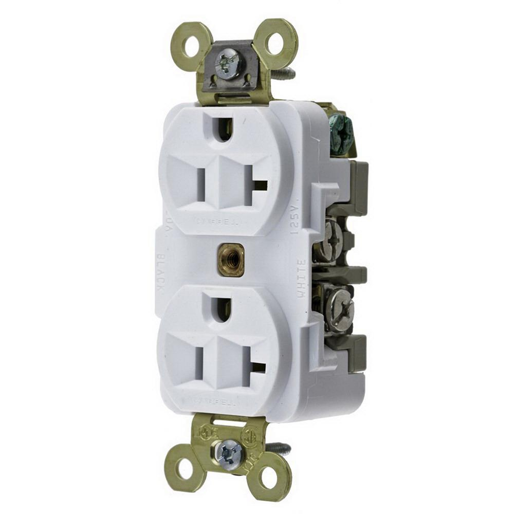Hubbell-Wiring HBL5362W Industrial Specification Grade Extra Heavy-Duty  Straight Blade Duplex Receptacle 20