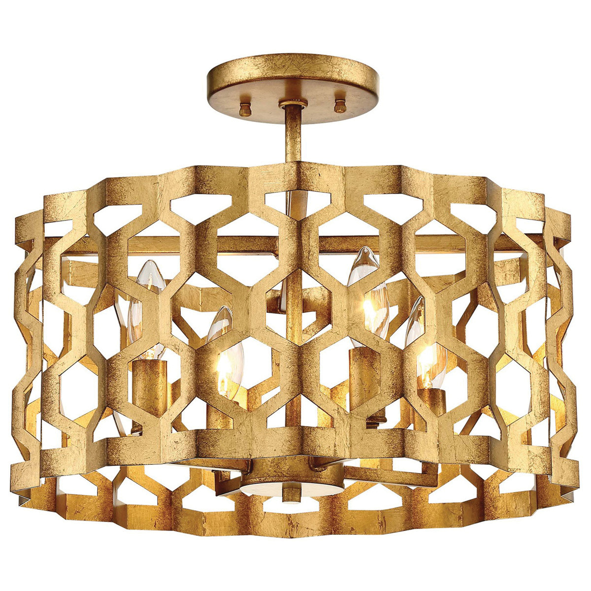 Metropolitan Lighting N6772 293 4 Light Semi Flush Pendant Fixture 60 Watt Pandora Gold Leaf Coronade