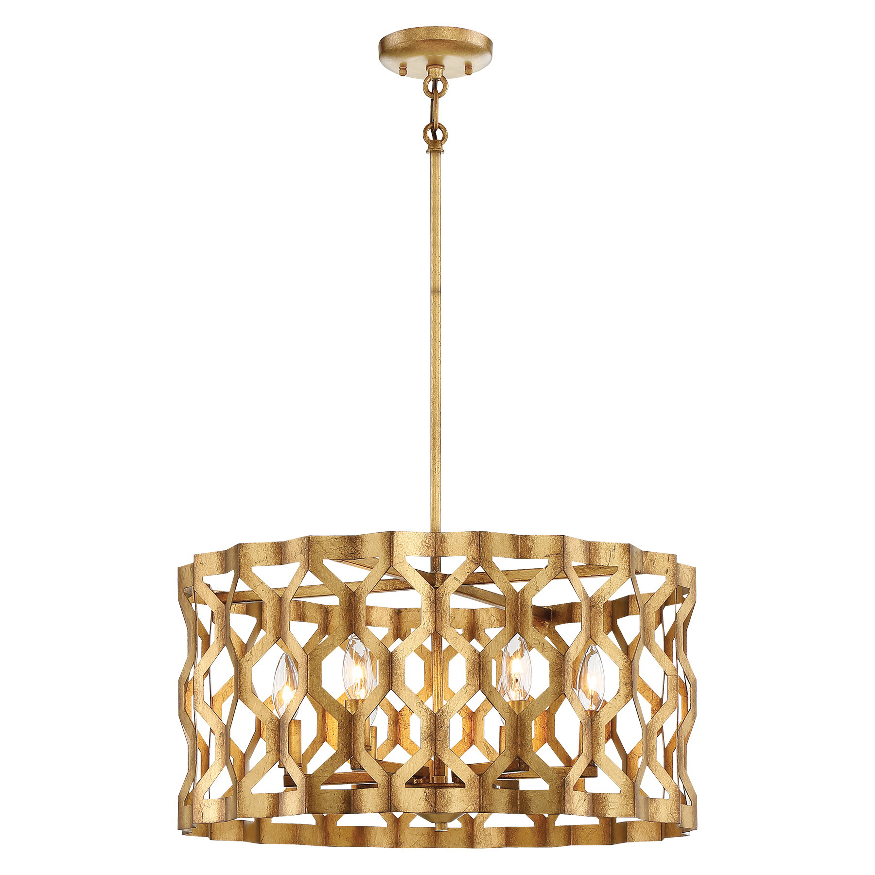 Metropolitan Lighting N6775 293 5 Light Pendant Fixture 60 Watt Pandora Gold Leaf Coronade