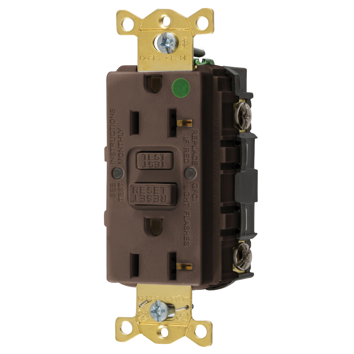 Hubbell Wiring Gfrst83 Heavy Duty Tamper And Weather Resistant Gfci Receptacle Straight Blade Self