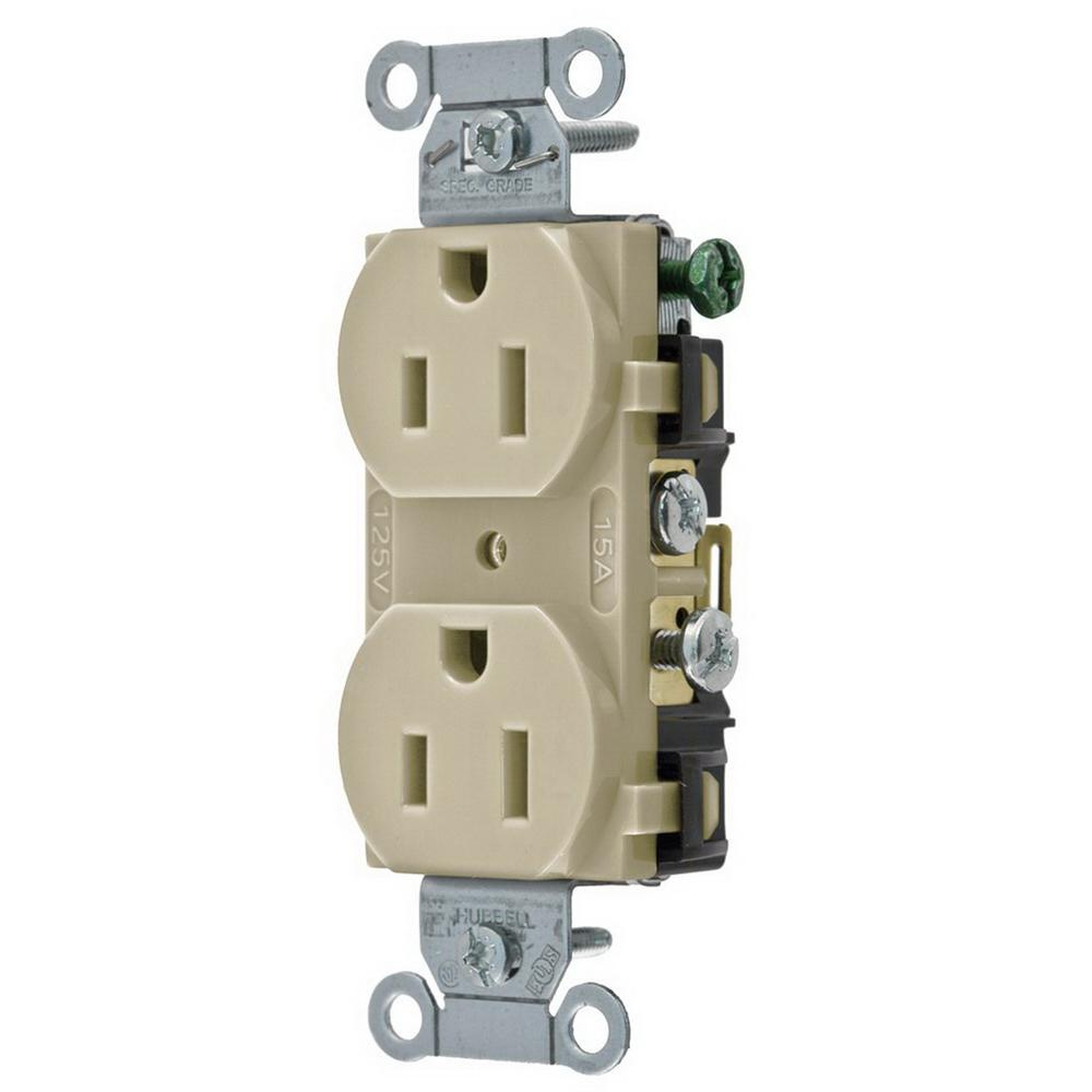 Hubbell-Wiring CR15I Commercial Specification Grade Straight Blade Duplex  Receptacle 15 Amp 125 Volt NEMA