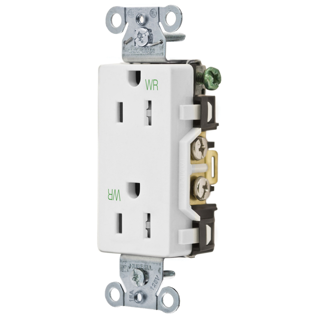 hubbell wiring dr15whiwrtr commercial industrial specification grade receptacle series or parallel hubbell wiring dr15whiwrtr commercial industrial specification grade tamper and weather resistant decorator