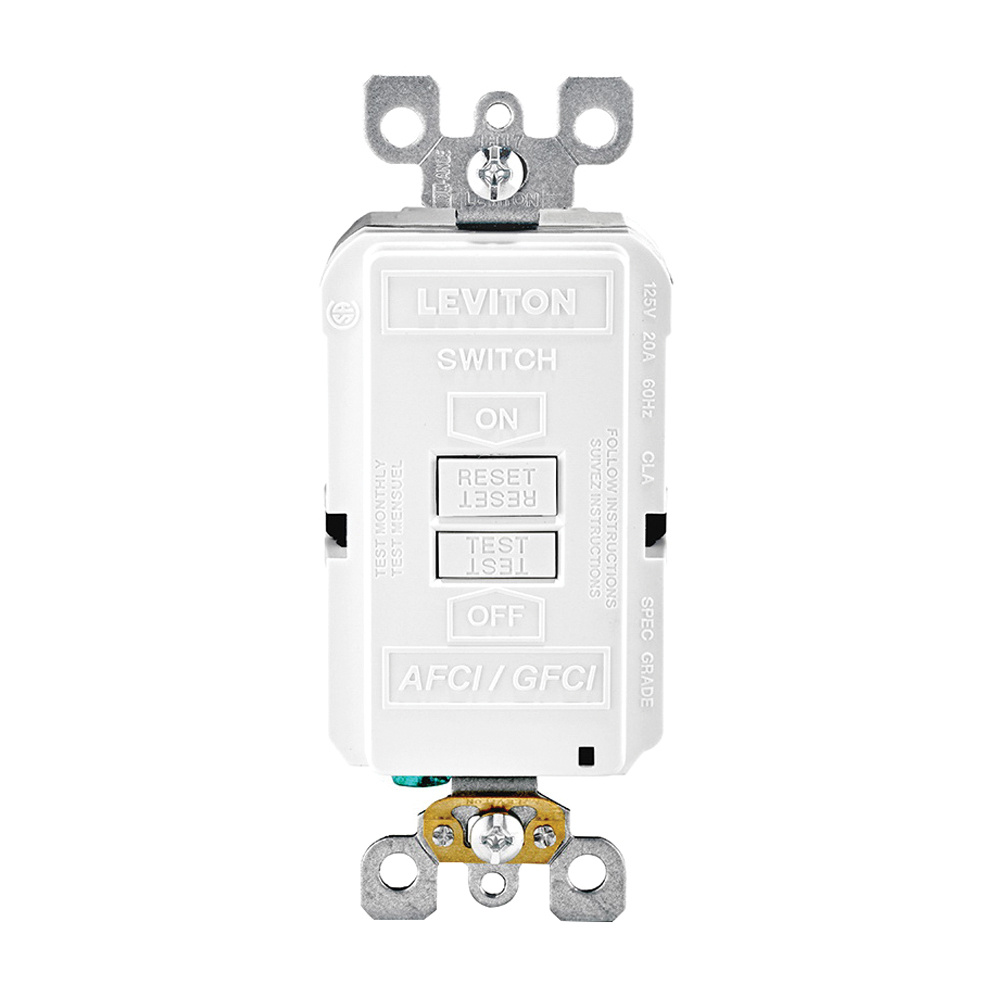 Leviton AGRBF-W Dual Function Monochromatic Blank Face AFCI/GFCI  Receptacle/Outlet 125-Volt AC 20-Amp White