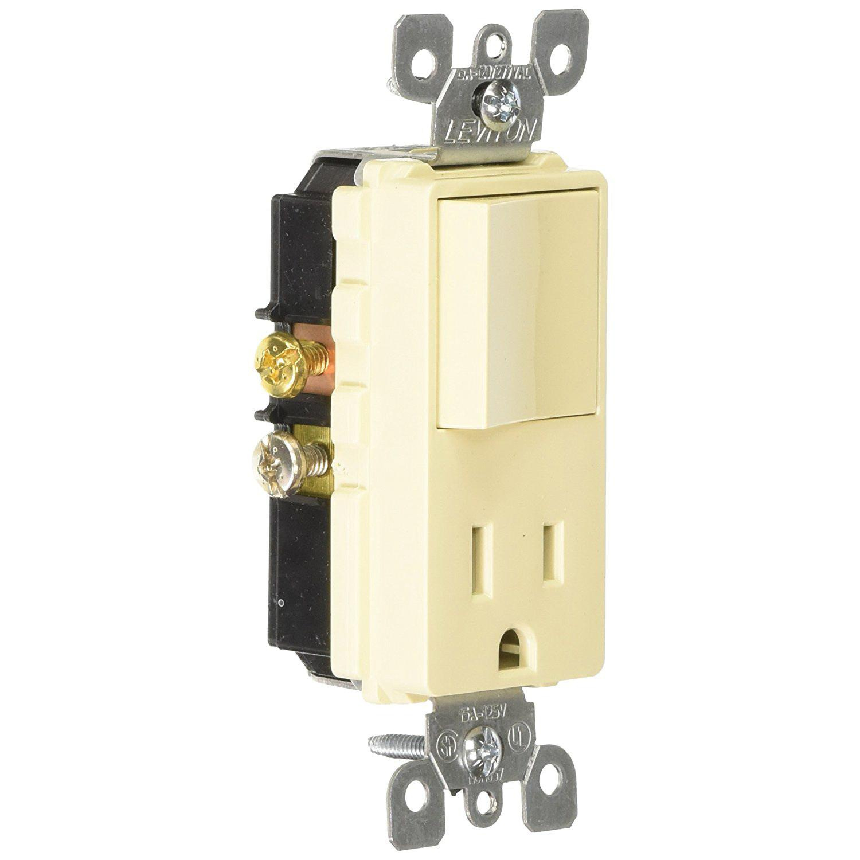 Leviton 5625 I 1 Pole Ac Combination Receptacle Or Switch Device 120 Wiring Devices Volt 125 15 Amp Nema 5 15r Ivory Decora