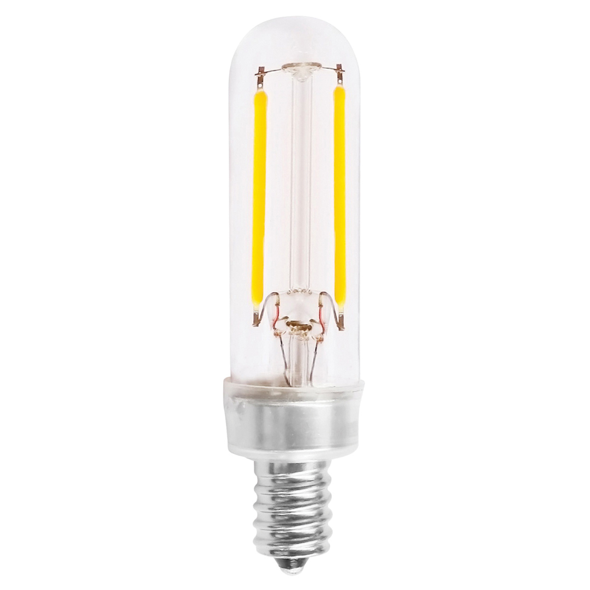 Satco S8555 Dimmable T6 Led Specialty Filament Lamp E12 Candelabra 2 5 Watt 180 Lumens 90 Cri 2700k Warm White