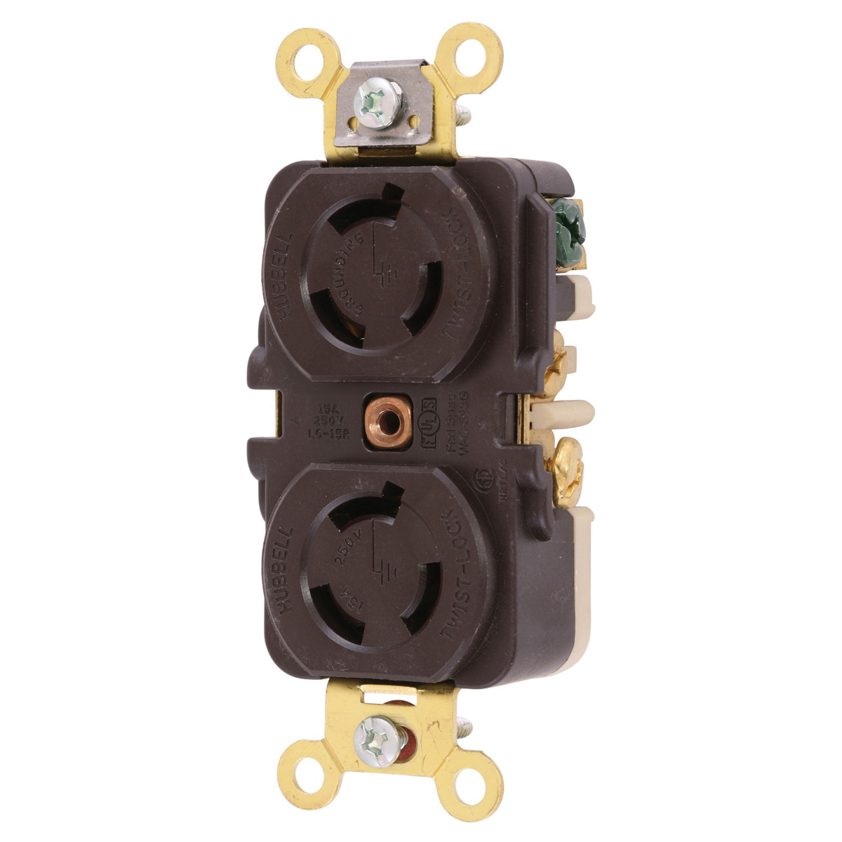 Hubbell Wiring Hbl4550 3 Wire 2 Pole Industrial Grade Locking Duplex Ac Receptacle 250