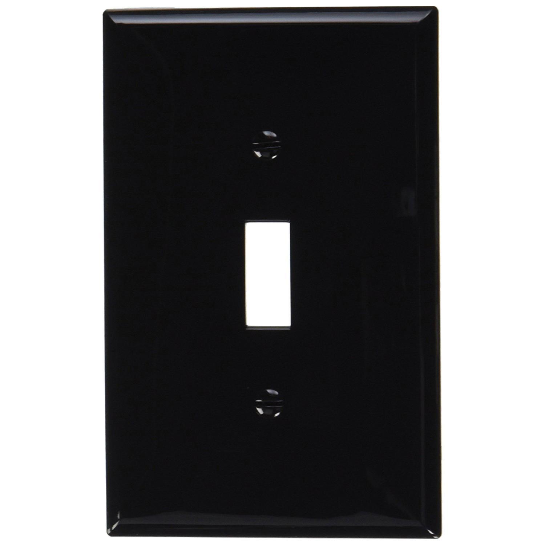 Leviton PJ1-E Thermoplastic Nylon Device Mount Midway Size 1-Gang Toggle  Switch Wallplate (1) Toggle Switch Black