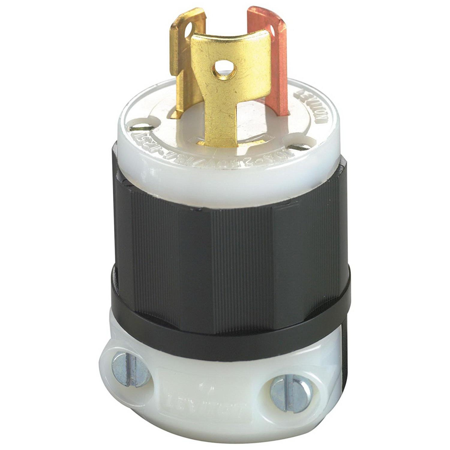 Leviton 7567-C 3 Wire 3 Pole Non-NEMA Polarized Locking Plug 125 ...