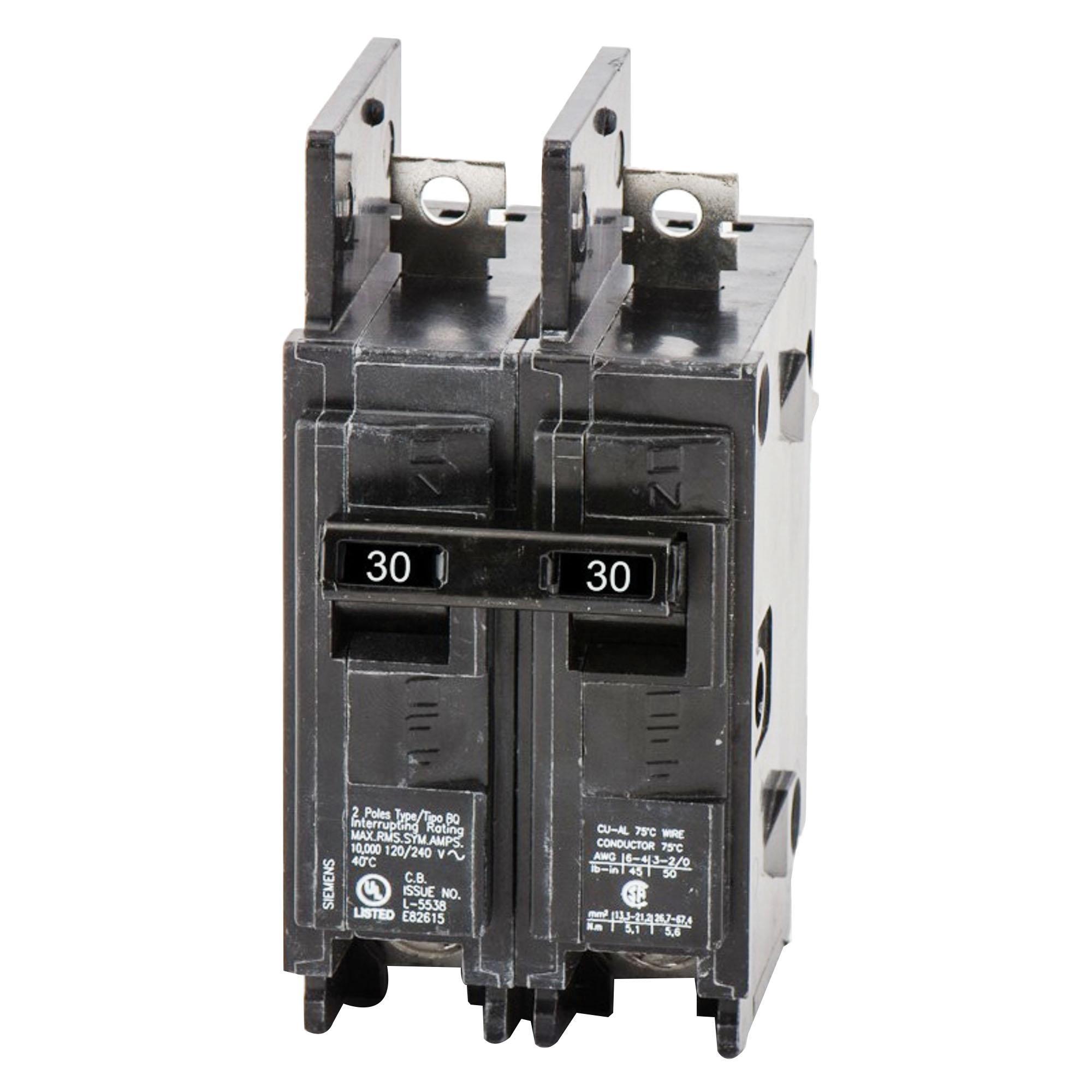 siemens bq2b030 bolt-on mount type bq molded case circuit breaker 2-pole 30- amp 120/240-volt ac - molded case circuit breakers - breakers and fuses -  power