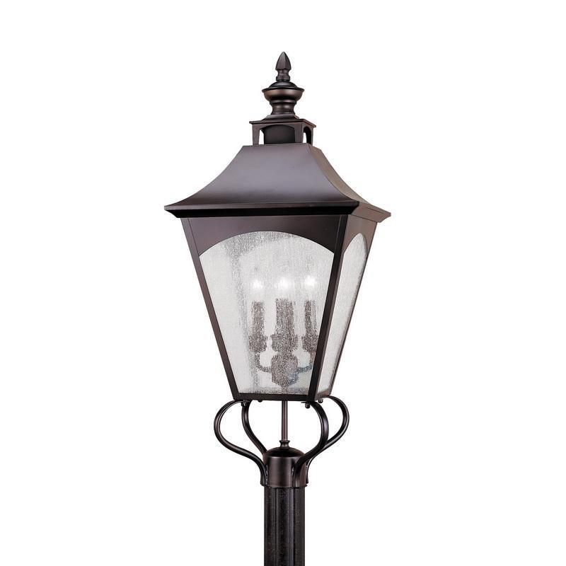 Murfeiss OL1008ORB 4-Light Square Top Post Light 60 Watt 120 Volt Oil Rubbed Bronze Homestead