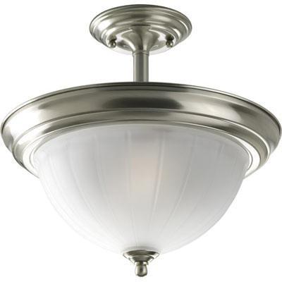 Progress Lighting P3876-09 2-Light Ceiling/Semi-Flush Mount Ceiling Fixture 100 Watt 120 Volt Brushed Nickel Melon