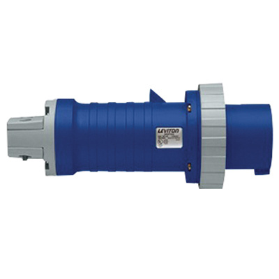 Leviton 360P6W 3-Wire 2-Pole Industrial Grade Watertight Pin and Sleeve Plug 250 Volt 60 Amp Blue