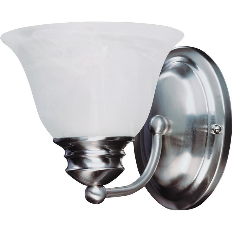 Maxim Lighting 2686MRSN 1-Light Classic Up/Down Mount Bath and Vanity Fixture 100 Watt 120 Volt Satin Nickel Malaga