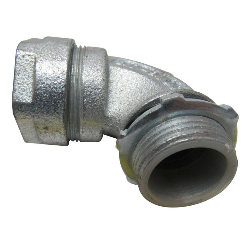 Emerson 4Q-9100 Zinc Electroplated Malleable Iron 4Q Liquidtight 90 Degree Connector 1 Inch OZ Gedney