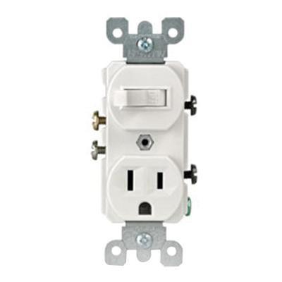 Leviton 5225-W 1-Pole Duplex AC Combination Receptacle Or Switch Device 120 Volt AC Switch 125 Volt AC Receptacle 15 Amp NEMA 5-15R White