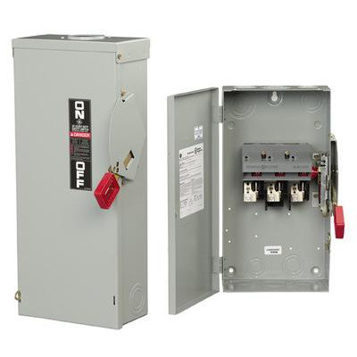 GE Industrial TH3221R 3 Wire 2 Pole Fusible Type TH Heavy-Duty Safety Switch 240 Volt AC 30 Amp NEMA 3R Spec-Setter™